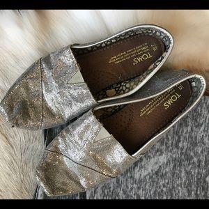 Toms silver glitter espadrille size 7